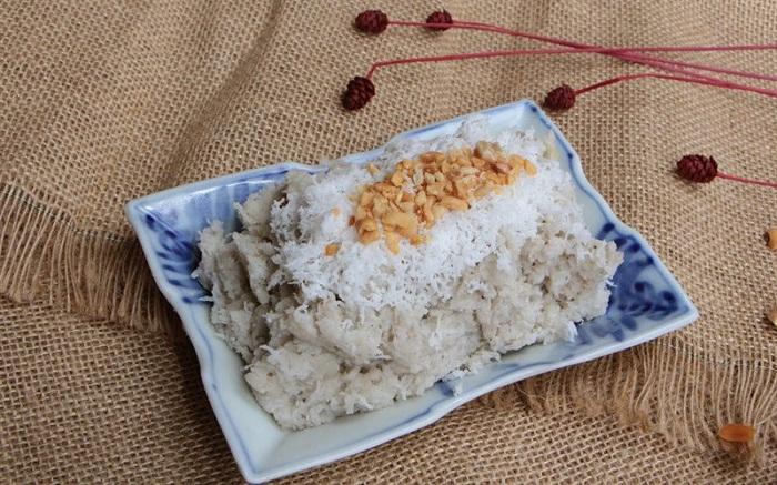 Chuối quết dừa, đặc sản độc đáo của ẩm thực Tiền Giang. Ảnh: cooky